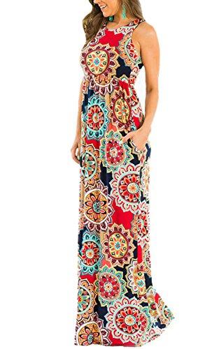 944b3b1cfde79 ECOWISH Damen Kleid Sommerkleid Ärmellos Rundhals Blumendruck Strandkleid  Lässiges Maxikleid mit Taschen
